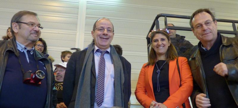 Sandrine Chaix entourée de Pascal Merlin Ligue AURA et Robert Fassolette Membre de la ligue AURA