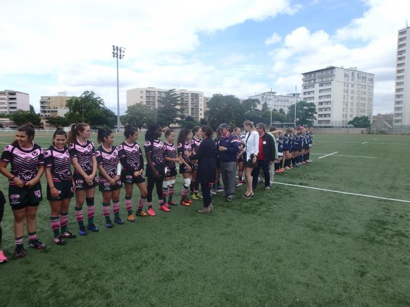 presentation de la formation des Lionnes à Najat Vallaud Belkacem et Anais Forest